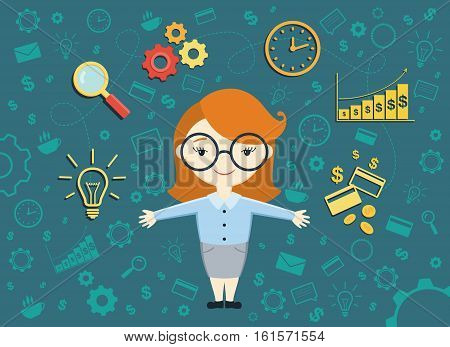 Flat design vector illustration of young business woman shows converting of idea into money. Business idea concept