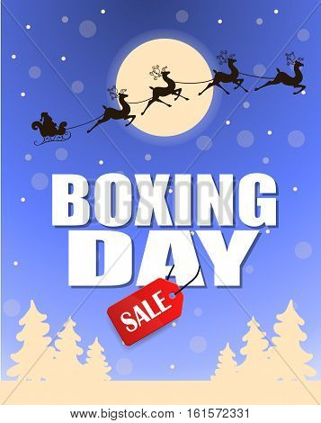 Vintage vector Boxing Day with red Sale tag hanging with typography design and trees moon and Santa slade