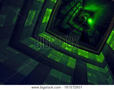 Mystery green background - abstract computer-generated image. Fractal art: futuristic well, portal or entrance. Technology or esoteric backdrop