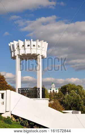 Gazebo on the bank of the Kotorosl River city of Yaroslavl in the fall.