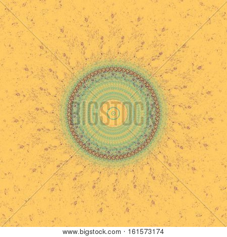 Abstract red green orange yellow floral fractal mandala in sun shape