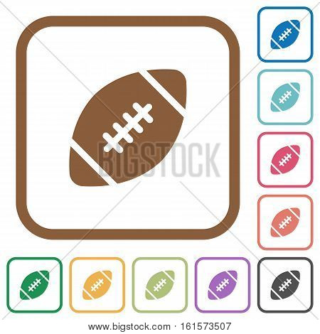 Rugby ball simple icons in color rounded square frames on white background