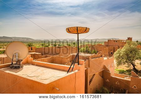 Storks Nest Ready On The Roof Of A House In Ouarzazate, Morocco