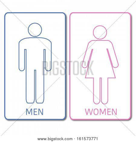 Blue and pink restrooms sign on a white background