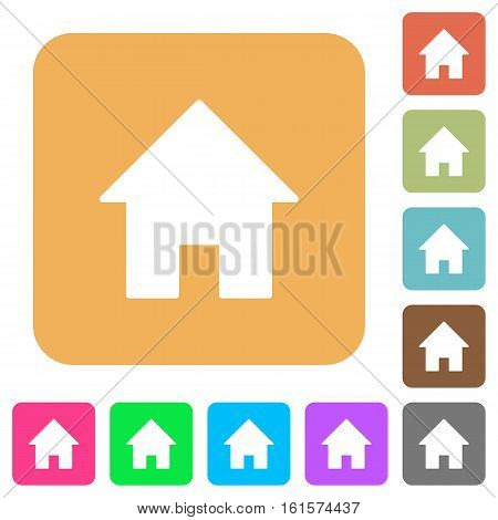Home icons on rounded square vivid color backgrounds.