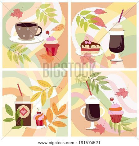 Cup of hot coffee and cake, breakfast, still life, autumn leaves  (vector illustration, flat concept)