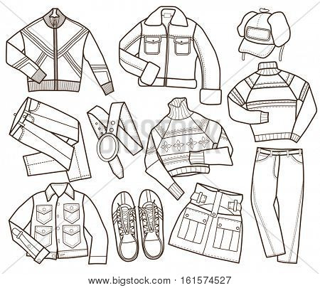 set of warm winter fashion (vector illustration, coloring book)