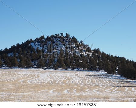 A snowy hay field and a butte covered with fresh snow off of Lower Bridge Way in Central Oregon on a sunny winter day.