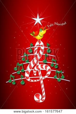 Christmas tree made of green musical notes, candy bar shaped treble clef and pentagram with yellow bird singing and title: FELIZ NAVIDAD -MERRY CHRISTMAS in spanish language- on red background with stars  - Vector image