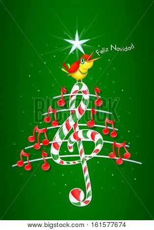 Christmas tree made of red musical notes, candy bar shaped treble clef and pentagram with yellow bird singing and title: FELIZ NAVIDAD -MERRY CHRISTMAS in spanish language- on green background with stars  - Vector image