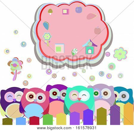 happy owl family with speech bubble,  holiday concept