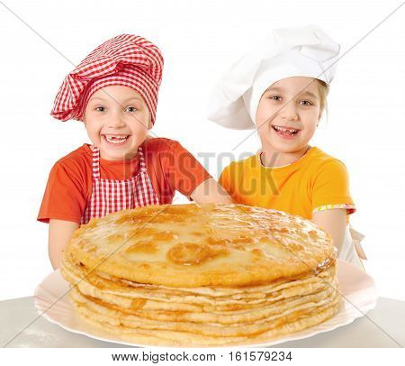Happy beautiful children with pancakes isolated on white