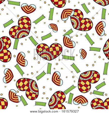 Vector Valentine Jester hearts and ribbons pattern white background. Gift unpacked