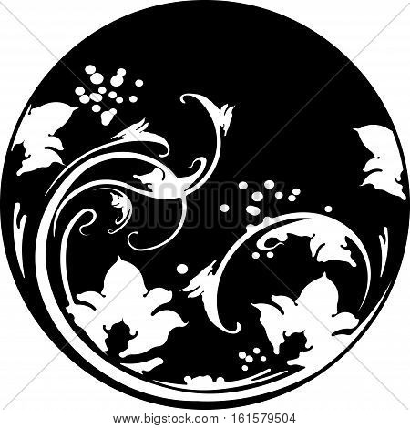 Floral Round Frame In Stencil Style With Decorative Pattern. Can Be  Used As Stencil-plate For Your