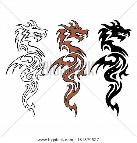 Dragon stylized image. Circuit. Colour. Silhouette Stock vector illustration isolated