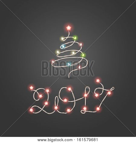 Christmas color garland lettering. Happy new 2017. Vector new year greeting card. Abstract christmas tree with lightbulbs