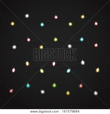 Different Christmas color garlands vector clipart. Christmas Greeting card vector template