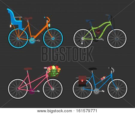 Vintage design four bicycle set. Retro old style bicycles transport wheel. Antique cycle transportation. Vector illustration