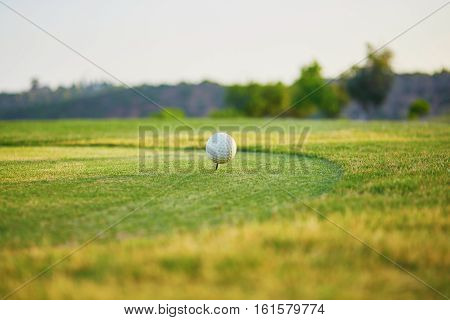 Closeup Of Golf Ball On Green