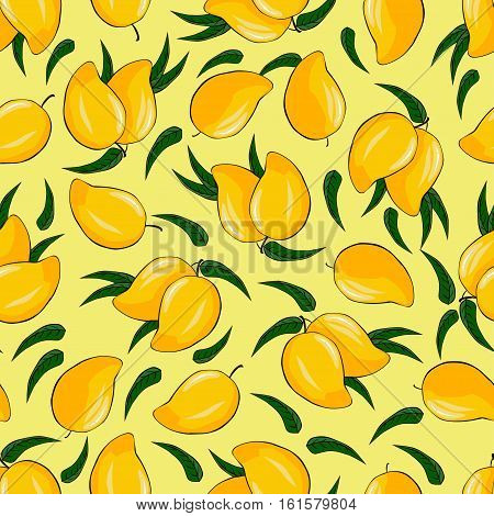 Ripe mango on a bright background. Seamless background. Vector illustration.Pattern.