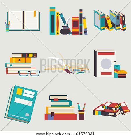 Books set in flat design style. Back to school collection. Vector illustration eps10