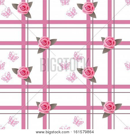 Seamless romantic pattern with roses butterflies for decorate and packing presents of Valentine Day wedding romantic holidays. eps 10.