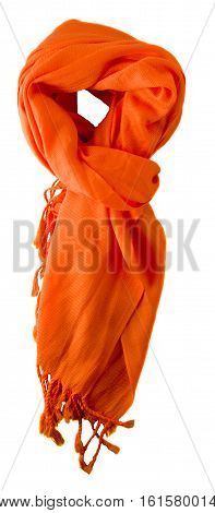 Scarf Isolated On White Background.scarf  Top View .orange Scarf .
