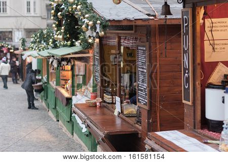 Brno,Czech Republic-December 5,, 2016: Wooden stall with hot drinks at Christmas market on the Cabbage Market on December 5, 2016 Brno Czech Republic