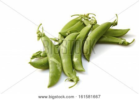 Snow peas isolated over white background, food, green, group, ingredients,
