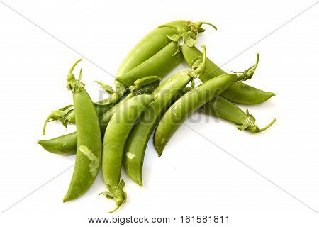 Snow peas isolated over white background, meal, peas, small, snow,