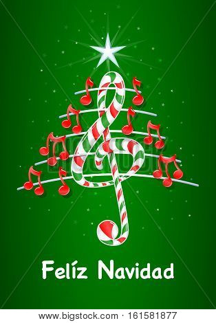 Christmas tree made of red musical notes, candy bar shaped treble clef and pentagram with title: FELIZ NAVIDAD -MERRY CHRISTMAS in spanish language- on green background with stars  - Vector image