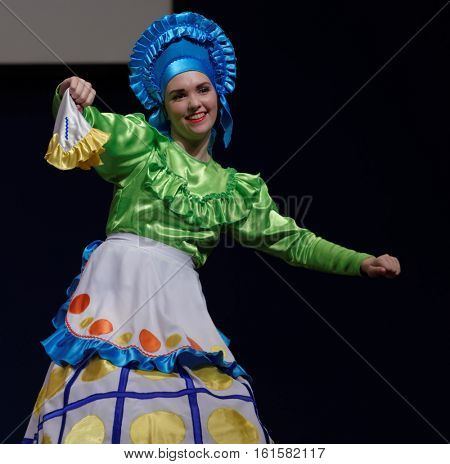 ST. PETERSBURG, RUSSIA - OCTOBER 28, 2016: Female dancer of show ballet Rendezvous performing in the International festival-contest of vocal and choreographic art Autumn Transformation