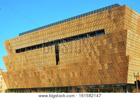 WASHINGTON DC, NOVEMBER 02 2015: National Museum of African American History and Culture located at the National Mall in Washington DC, USA