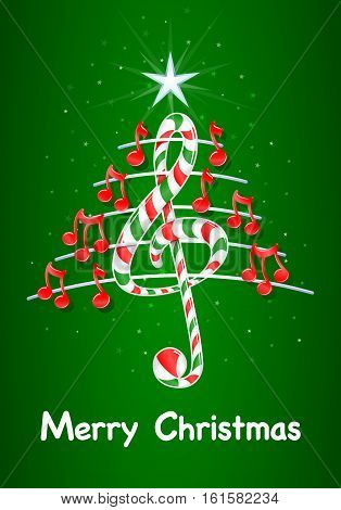 Christmas tree made of red musical notes, candy bar shaped treble clef and pentagram with title: MERRY CHRISTMAS on green background with stars  - Vector image