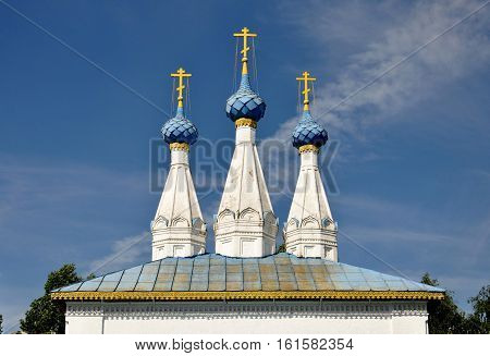 The old temple. Three domes with crosses.