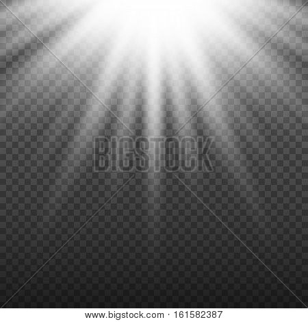 White glowing light burst explosion on transparent background. Bright flare effect decoration with ray sparkles. Transparent shine gradient glare texture. Vector illustration lights effect eps10