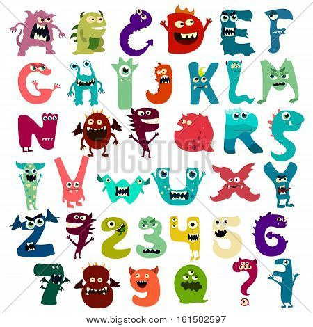 Monster funny cut aphabet with English letter. Vector EPS 10
