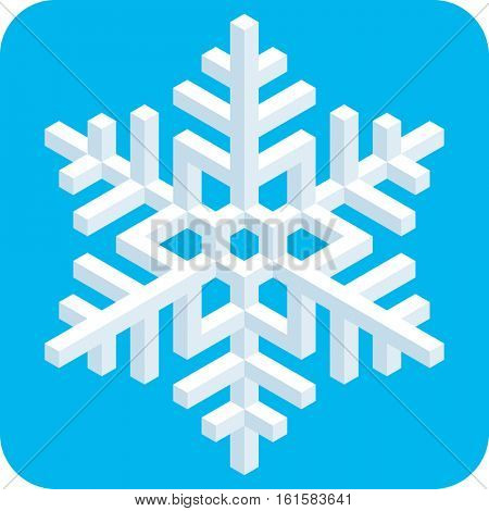3D Isometric Snowflake Icon in flat design for Christmas decoration.