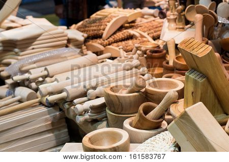 a lor of cups and bamboo rolling pins