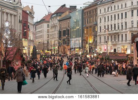 Brno,Czech Republic-December 5,2016: People browsing market stalls at Christmas market at Liberty Square on December 5, 2016 Brno Czech Republic
