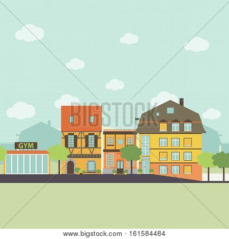 Small urban town life infographic elements. Flat design style. Vector illustration.