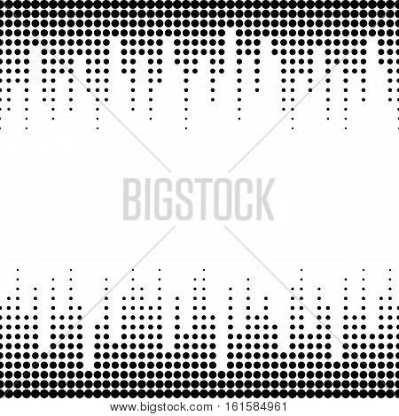 Vector monochrome seamless pattern with dots, black & white halftone transition. Dynamic visual effect, modern simple endless background. Geometric texture for prints, digital, cover, identity, web