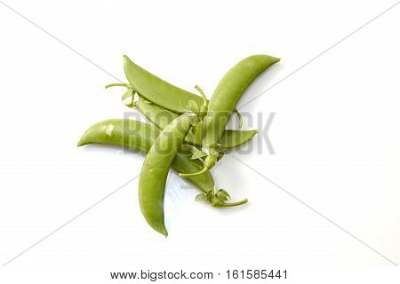Snow peas isolated over white background, details, salad