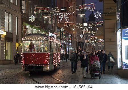 Brno,Czech Republic-December 5,2016: Christmas tram tram at Masaryk street on December 5, 2016 Brno Czech Republic