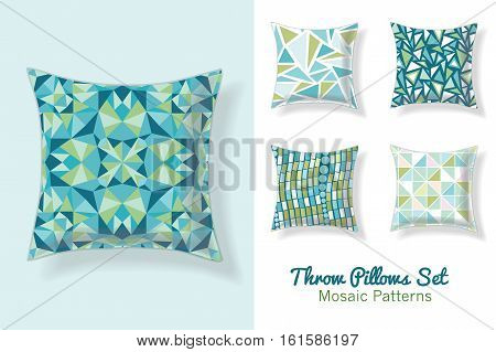 Premium Set Of Throw Pillows In Matching Unique Abstract Geometric Seamless Patterns. Square Shape. Editable Vector Template. Surface Pattern Textile Design.