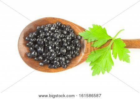 Black Beluga caviar isolated on a white background cutout