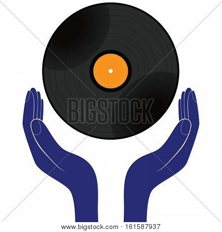 Hands hold vinyl record disk isolated white. Save buy enjoy play it design vector.