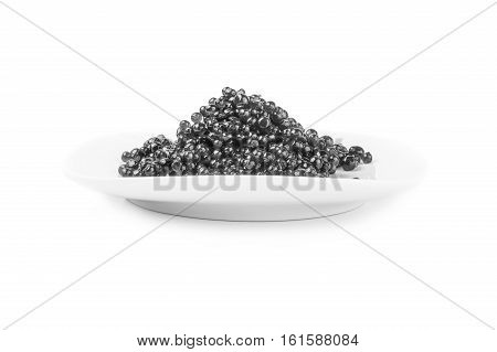 Black caviar isolated on a white background with clipping path