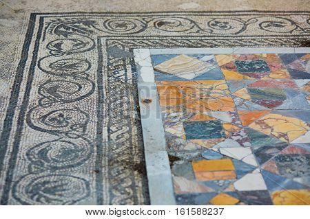 Ancient Marble Mosaics In Pompeii, Italy