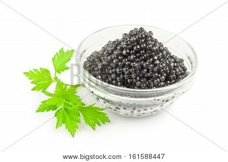 Black Beluga caviar on a white background clipping path